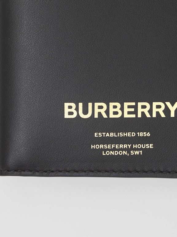 Horseferry Print Leather International Bifold Wallet in Black - Men | Burberry Australia - cell image 1