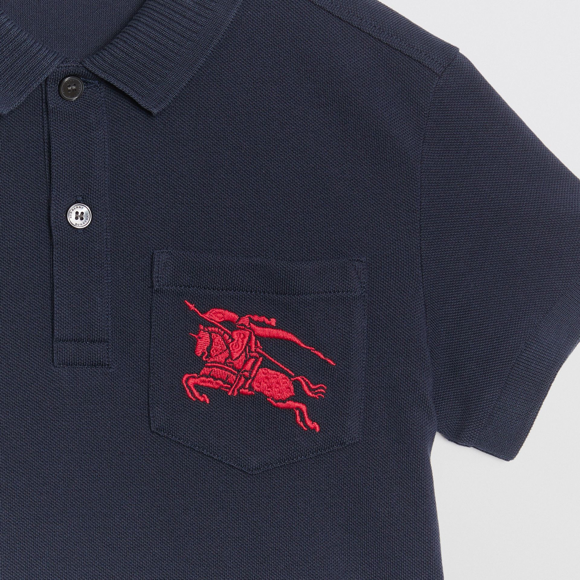 EKD Logo Cotton Piqué Polo Shirt in Navy - Children | Burberry - gallery image 4
