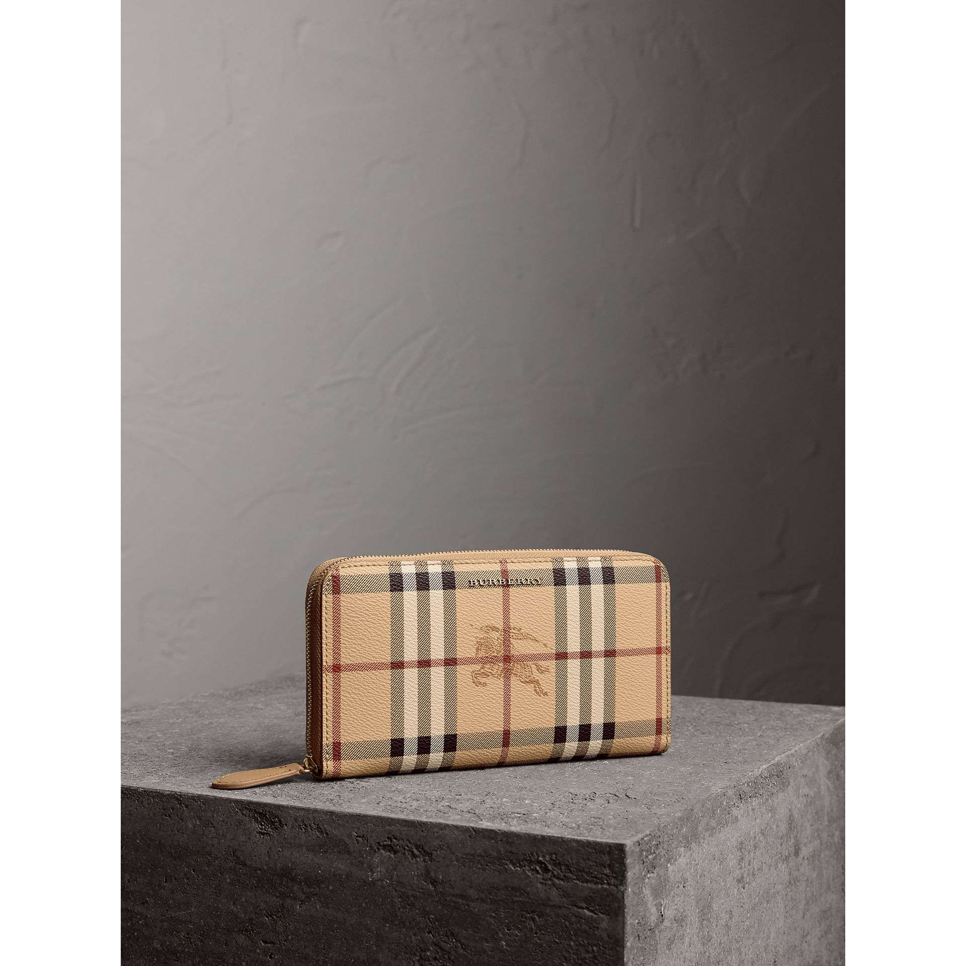 Haymarket Check and Leather Ziparound Wallet in Mid Camel - Women | Burberry - gallery image 1