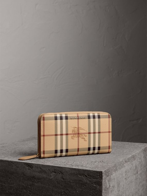 Haymarket Check and Leather Ziparound Wallet in Mid Camel