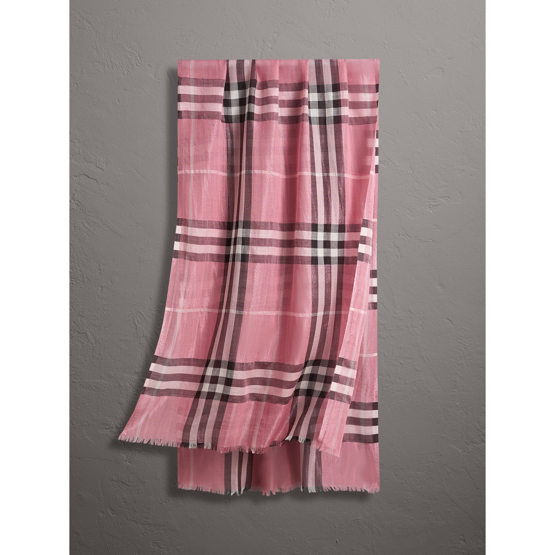 Metallic Check Silk and Wool Scarf in Bright Pink - Women | Burberry United Kingdom - gallery image 0