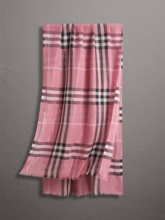Metallic Check Silk and Wool Scarf in Bright Pink