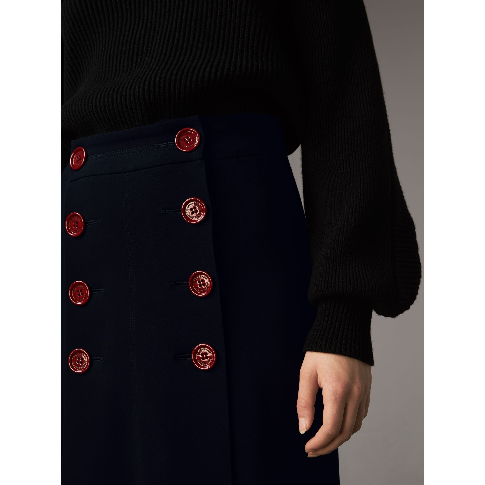 Resin Button Double-breasted Tailored Skirt - Women | Burberry - gallery image 2