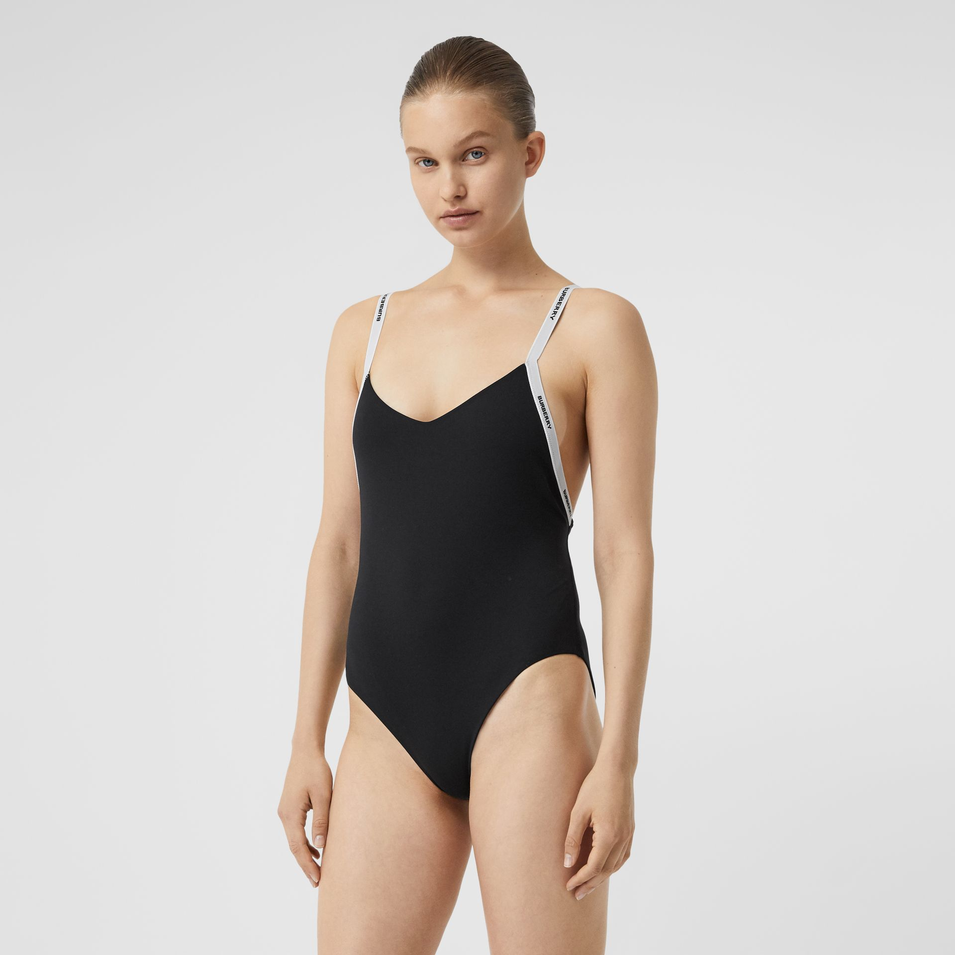 Logo Tape Swimsuit in Black - Women | Burberry Canada - gallery image 0