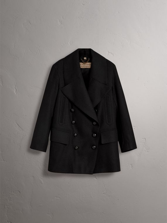 Wool Blend Pea Coat in Black - Women | Burberry - cell image 3