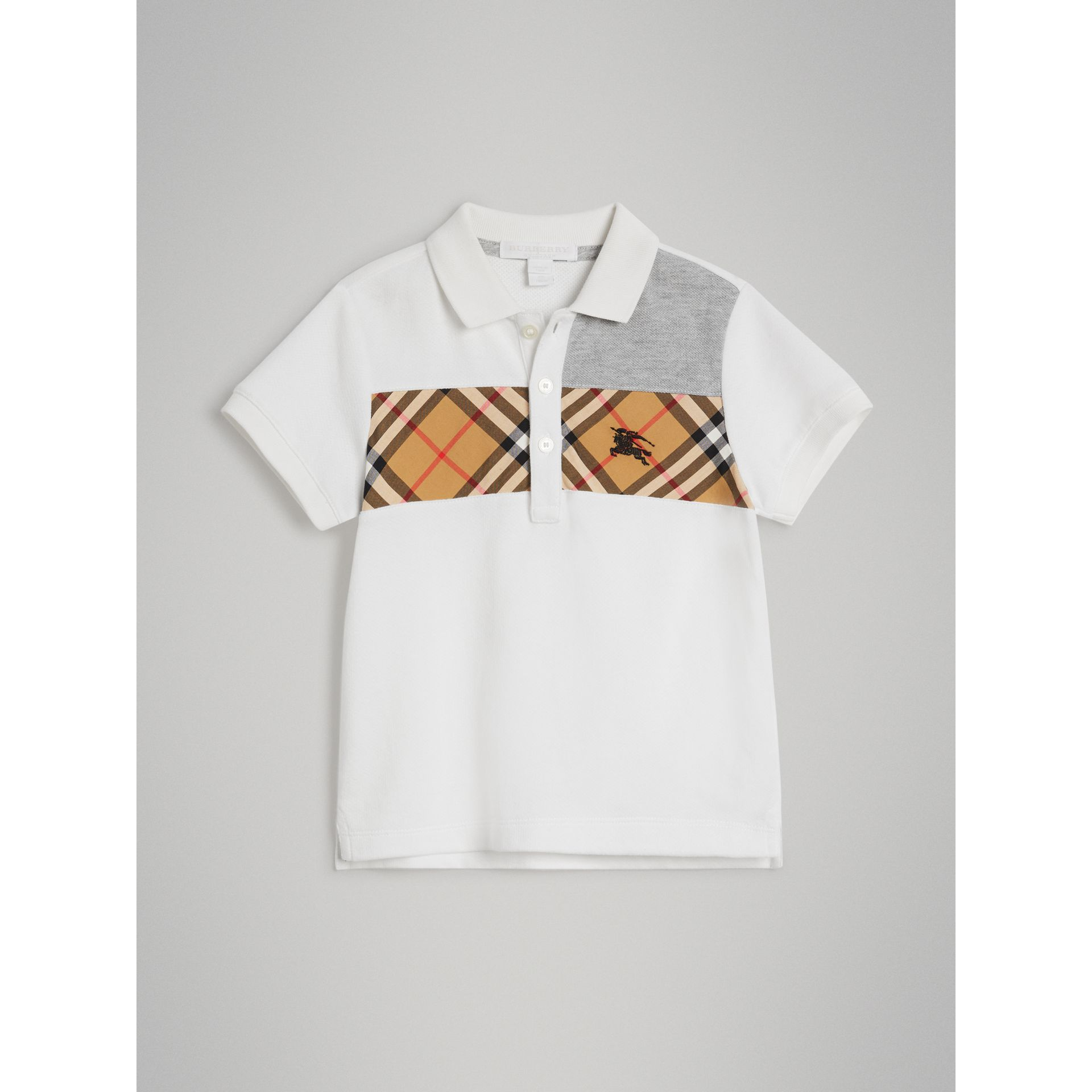 Vintage Check Panel Cotton Polo Shirt in White | Burberry - gallery image 0
