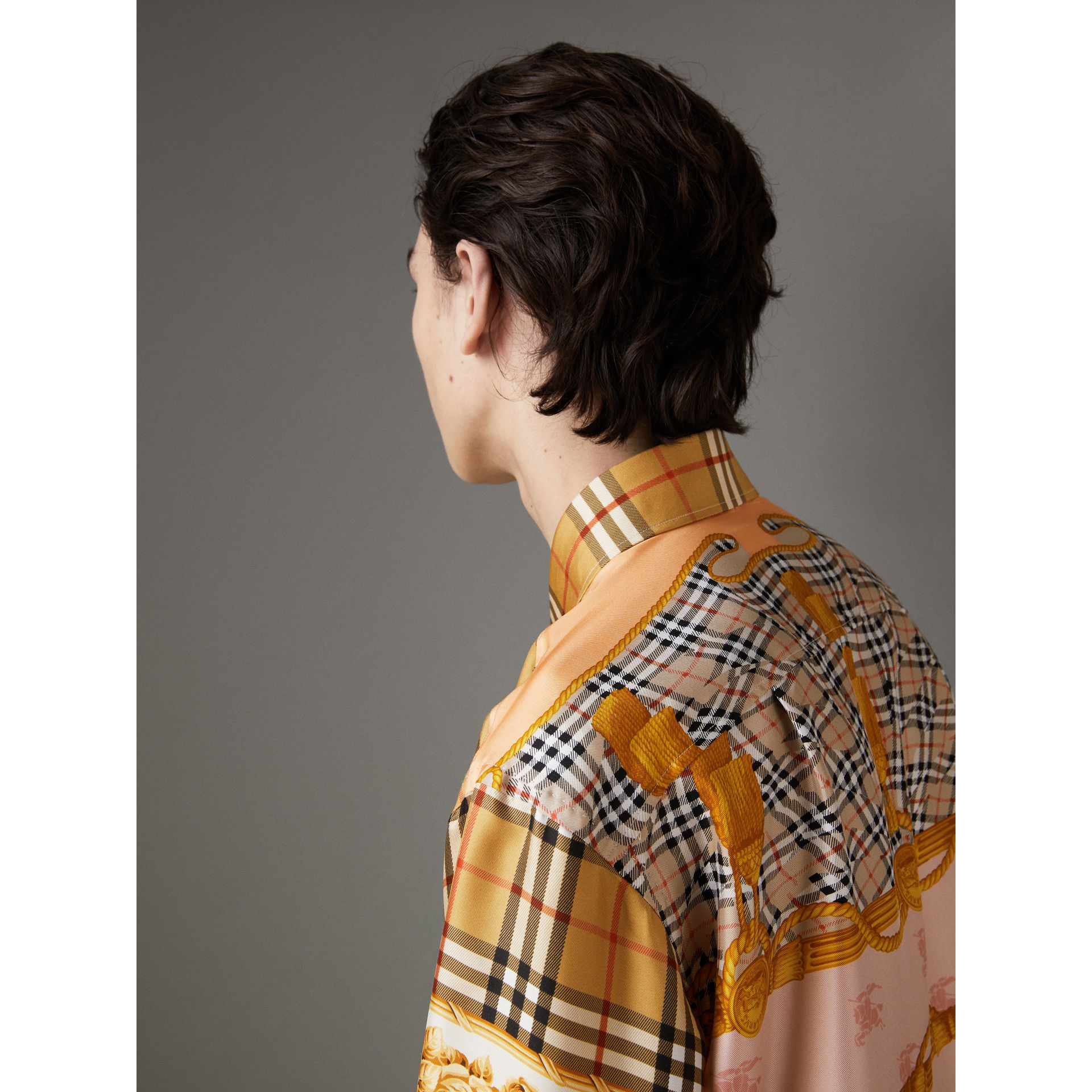 Archive Scarf Print Silk Shirt in Antique Yellow | Burberry - gallery image 1