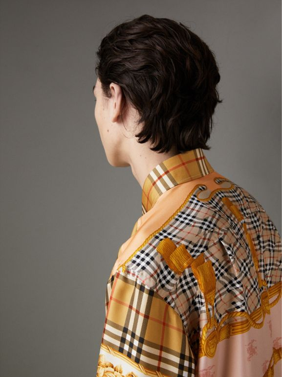 Archive Scarf Print Silk Shirt in Antique Yellow | Burberry United Kingdom - cell image 1
