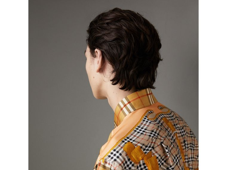 Archive Scarf Print Silk Shirt in Antique Yellow | Burberry - cell image 1
