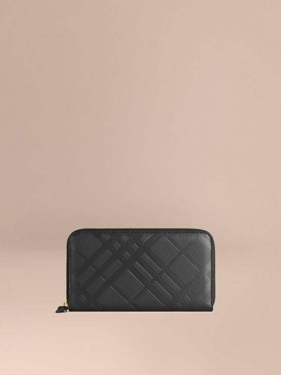 Embossed Check Leather Ziparound Wallet Black