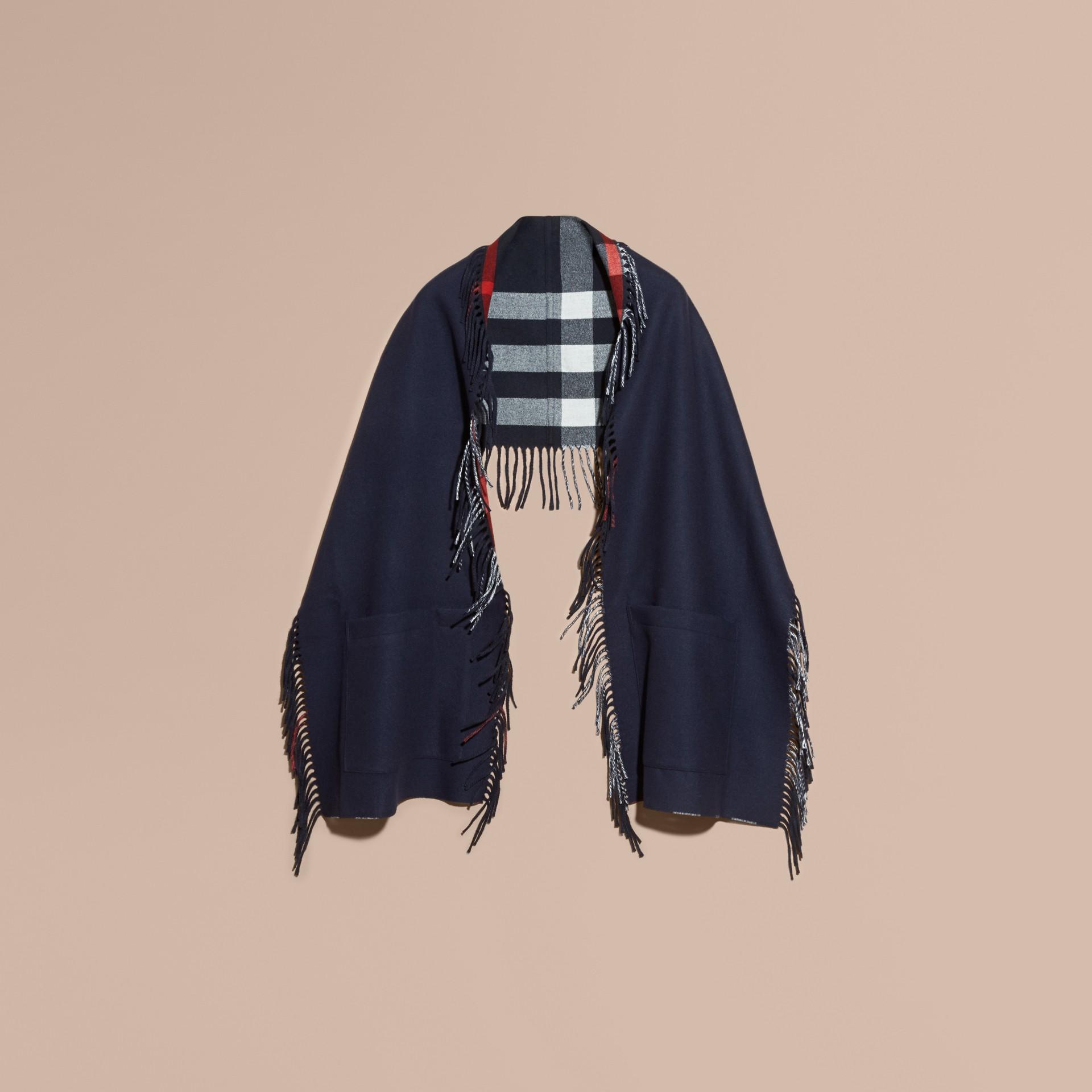Bleu indigo Étole en laine mérinos et cachemire à franges Bleu Indigo - photo de la galerie 2