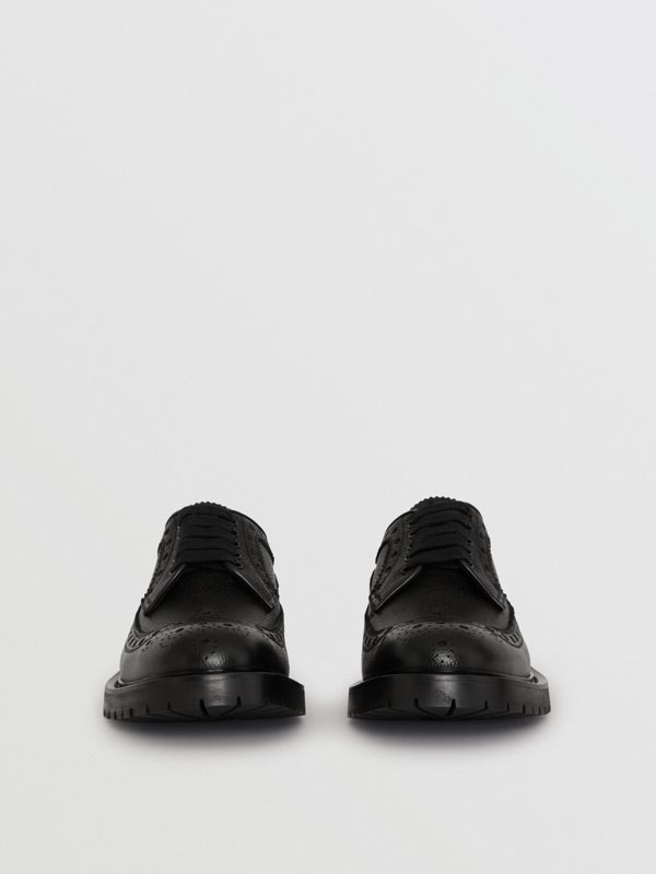 Brogue Detail Grainy Leather Derby Shoes in Black - Men | Burberry Hong Kong - cell image 3