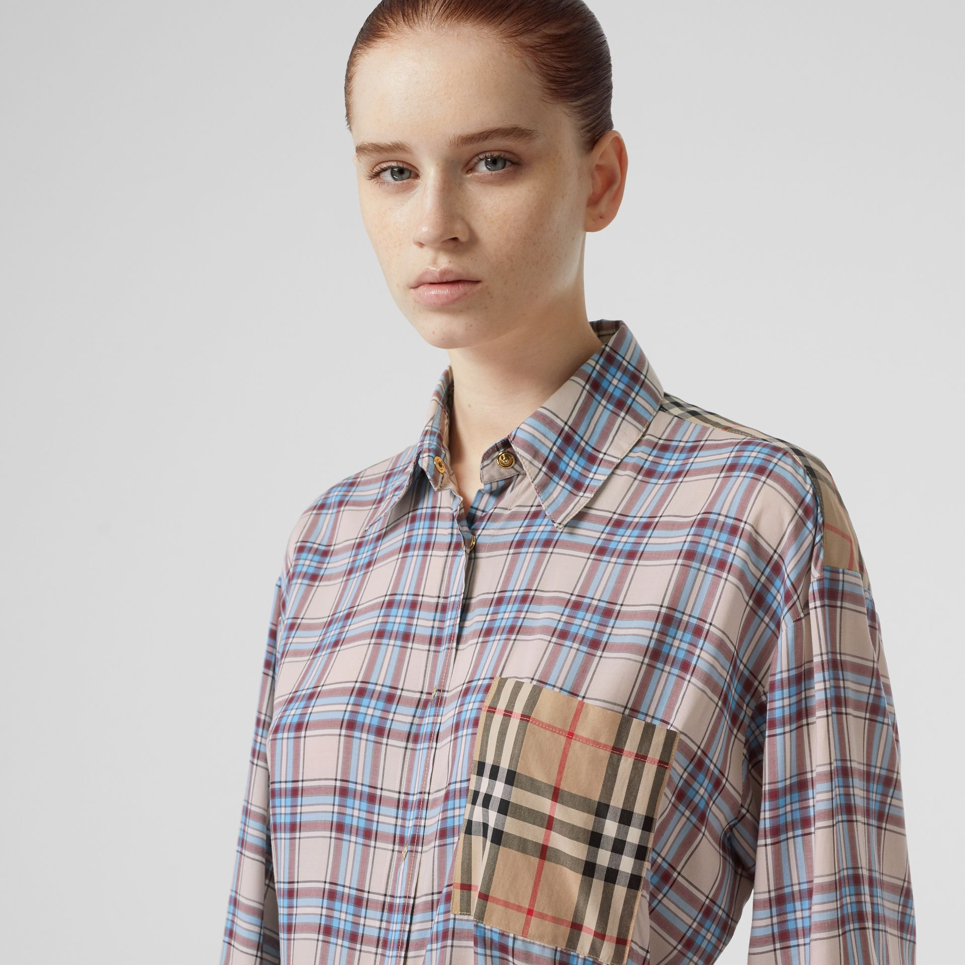 Vintage Check Panel Check Voile Shirt in Pale Blue - Women | Burberry - gallery image 1