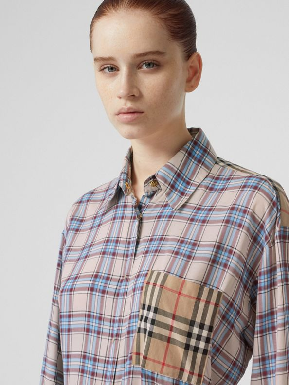 Vintage Check Panel Check Voile Shirt in Pale Blue