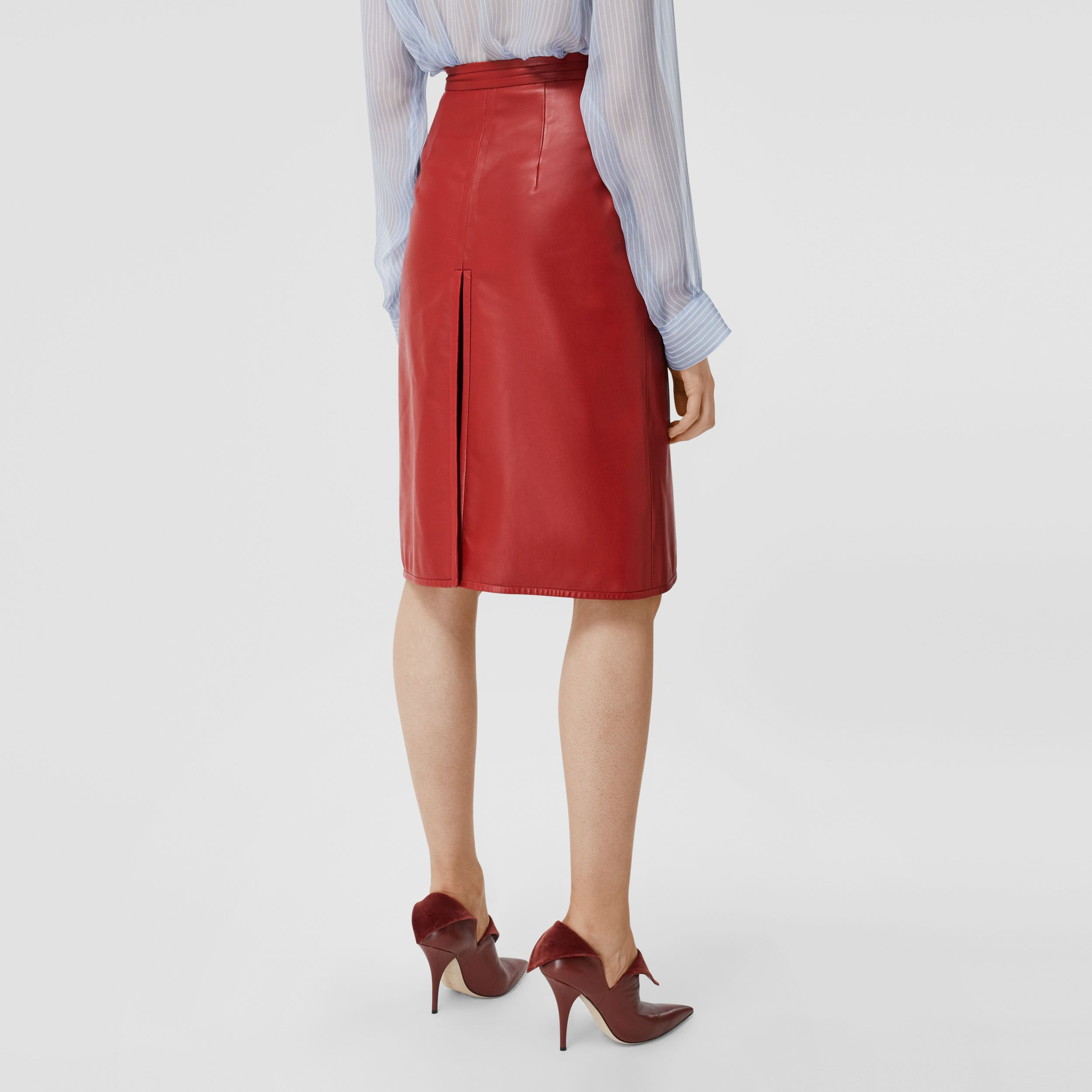 Box-pleat Detail Leather A-line Skirt in Dark Carmine - Women | Burberry - 3