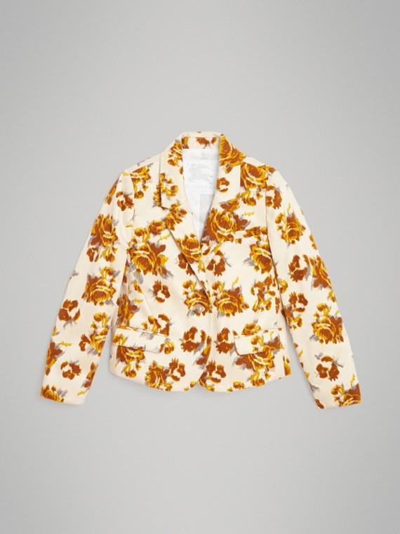 Blazer en jacquard de velours à motif floral (Moutarde)