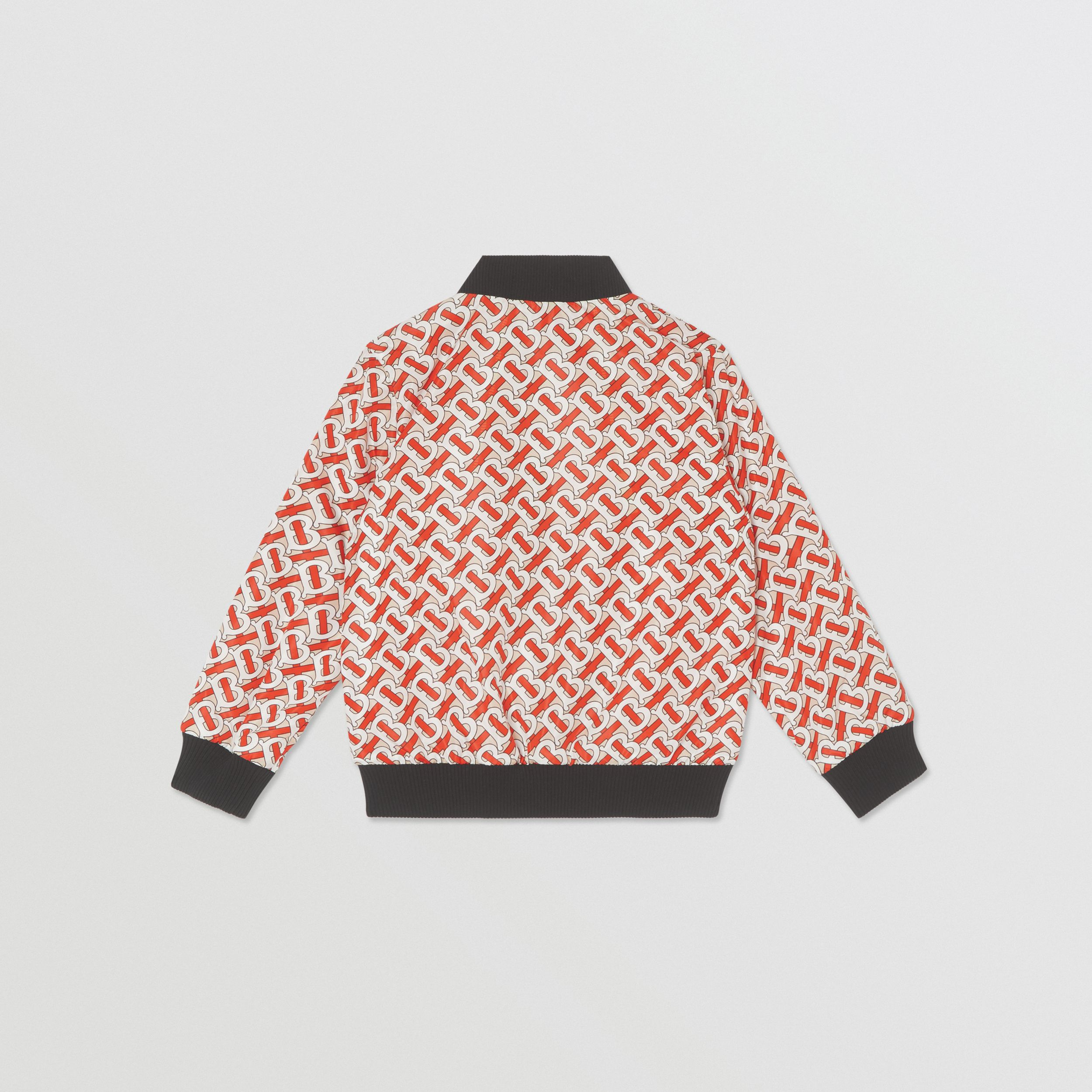 Monogram Print Nylon Bomber Jacket in Vermilion Red | Burberry United Kingdom - 4