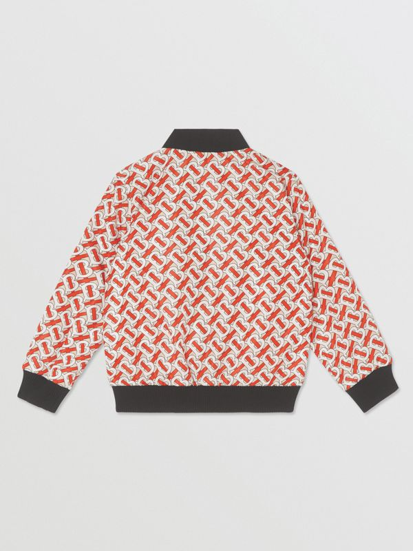 Monogram Print Nylon Bomber Jacket in Vermilion Red | Burberry United States - cell image 3