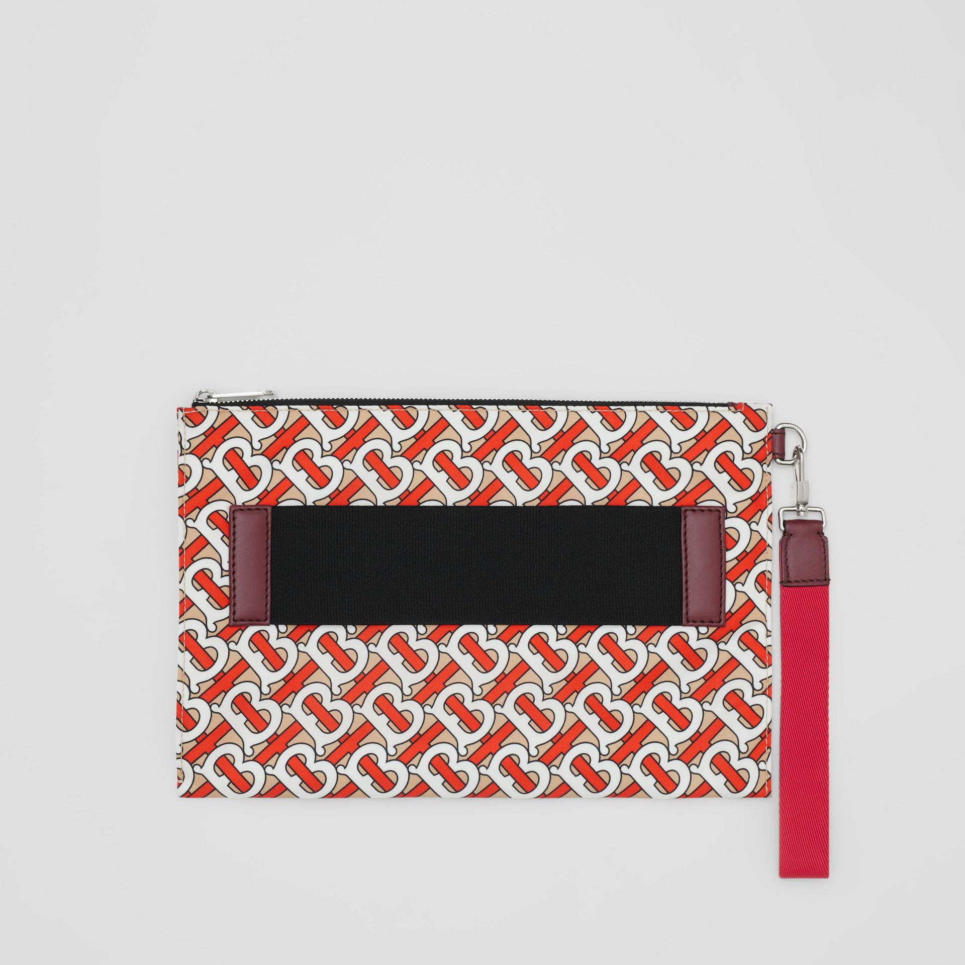 Monogram Print Zip Pouch in Vermilion | Burberry - gallery image 0