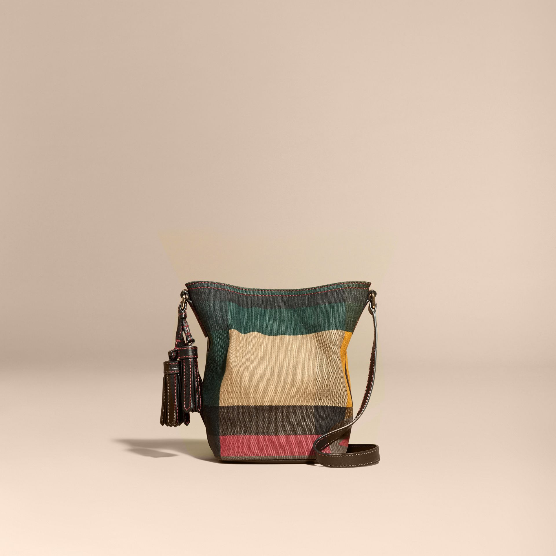 Black The Small Ashby in Printed Canvas Check and Leather - gallery image 8