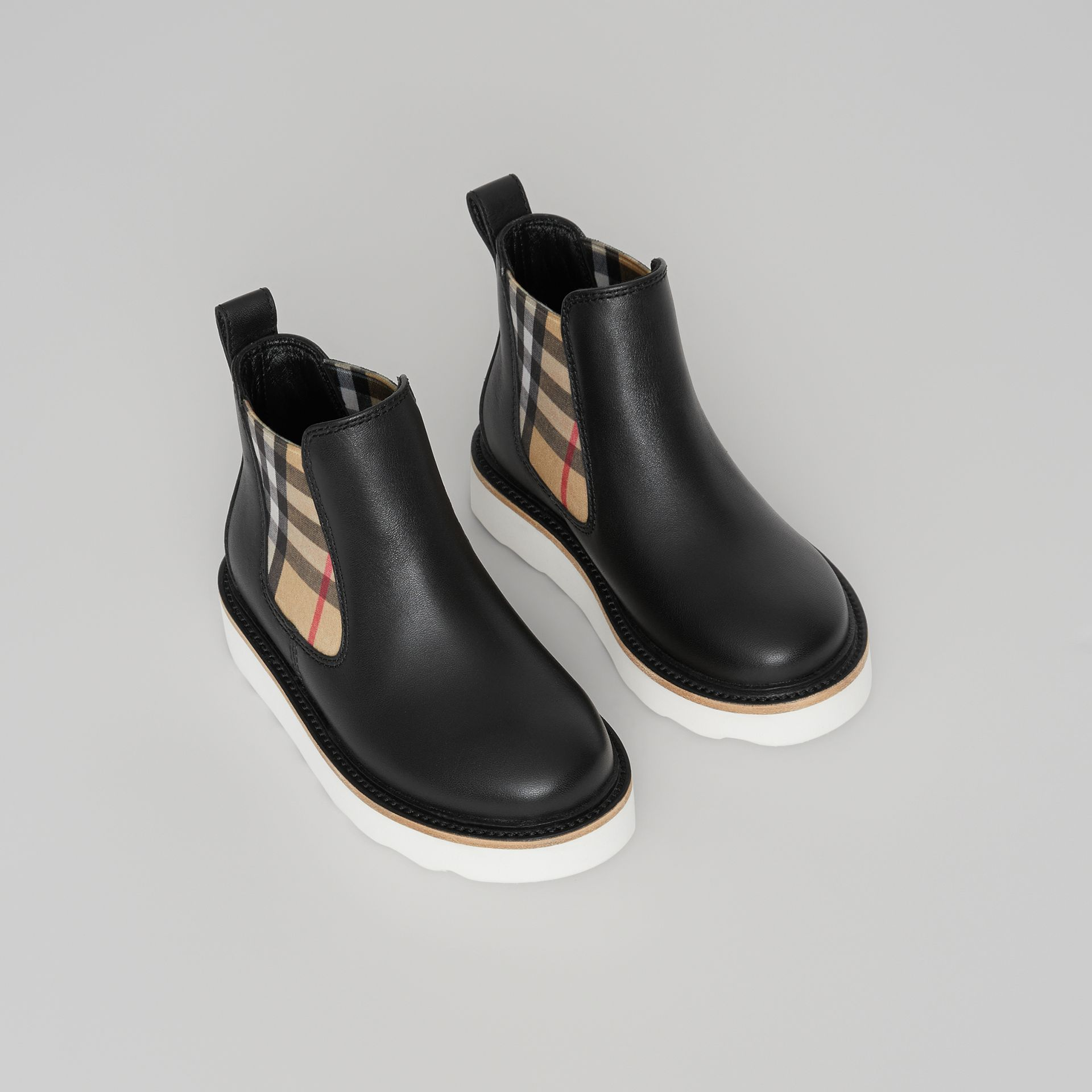 Vintage Check Detail Leather Chelsea Boots in Black | Burberry Canada - gallery image 0
