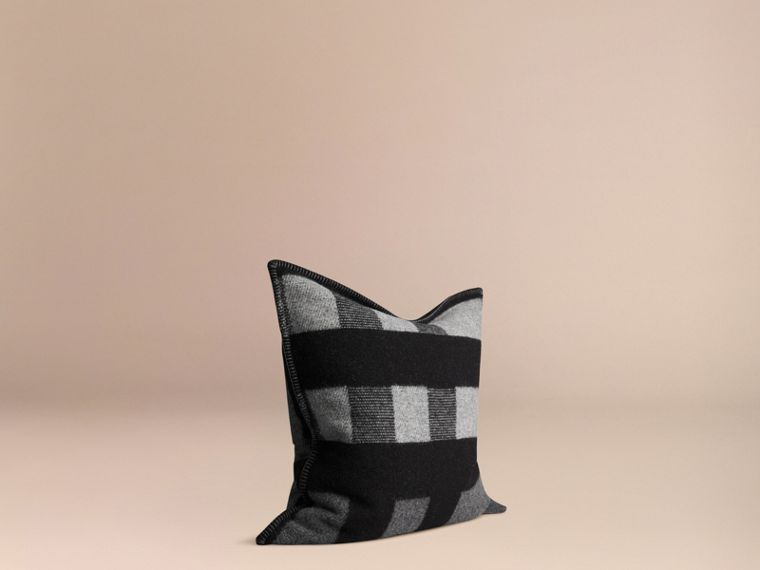 Dark grey check Check Wool Cashmere Cushion Cover Dark Grey - cell image 2