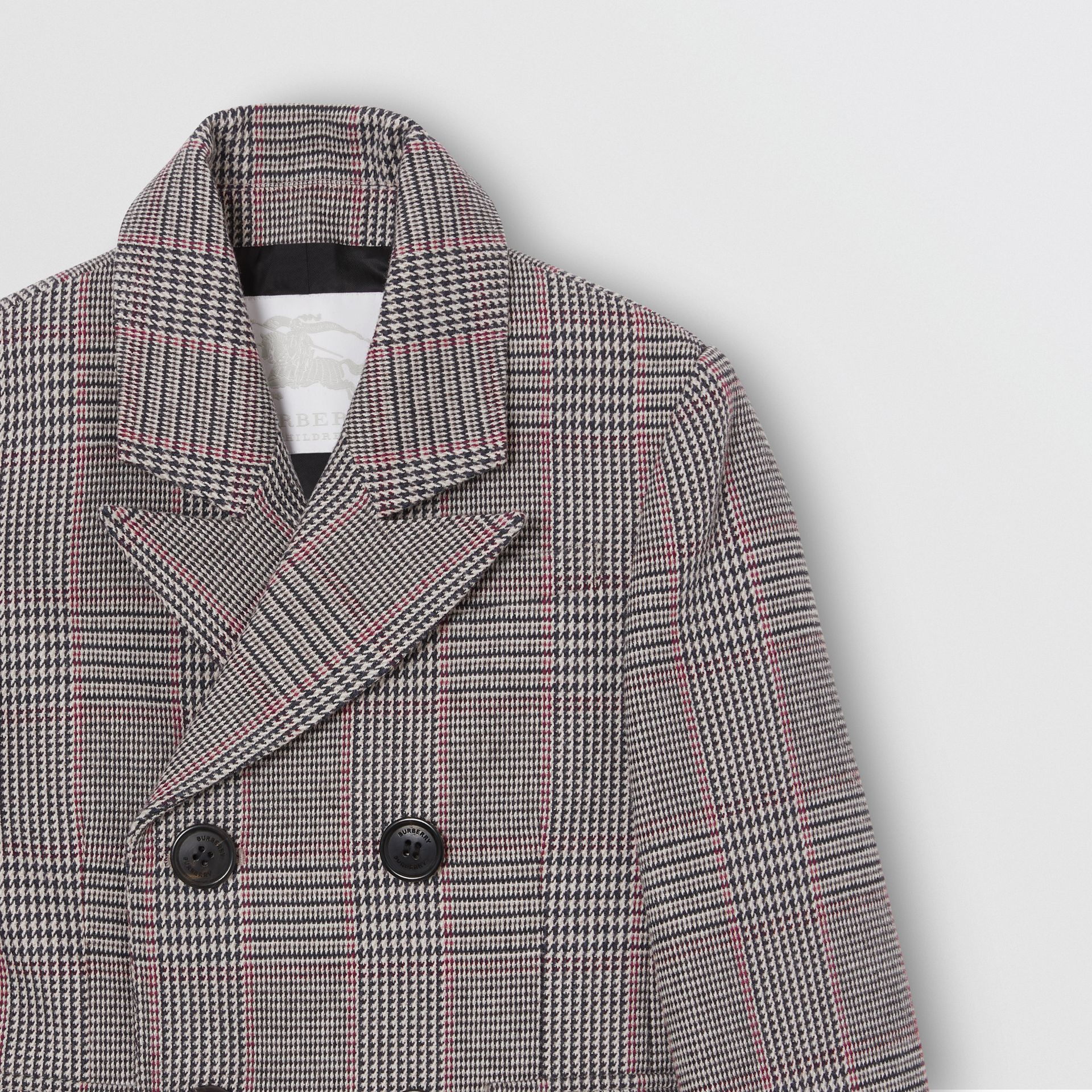 Prince of Wales Check Wool Cotton Blend Coat in Slate Blue Melange | Burberry - gallery image 4