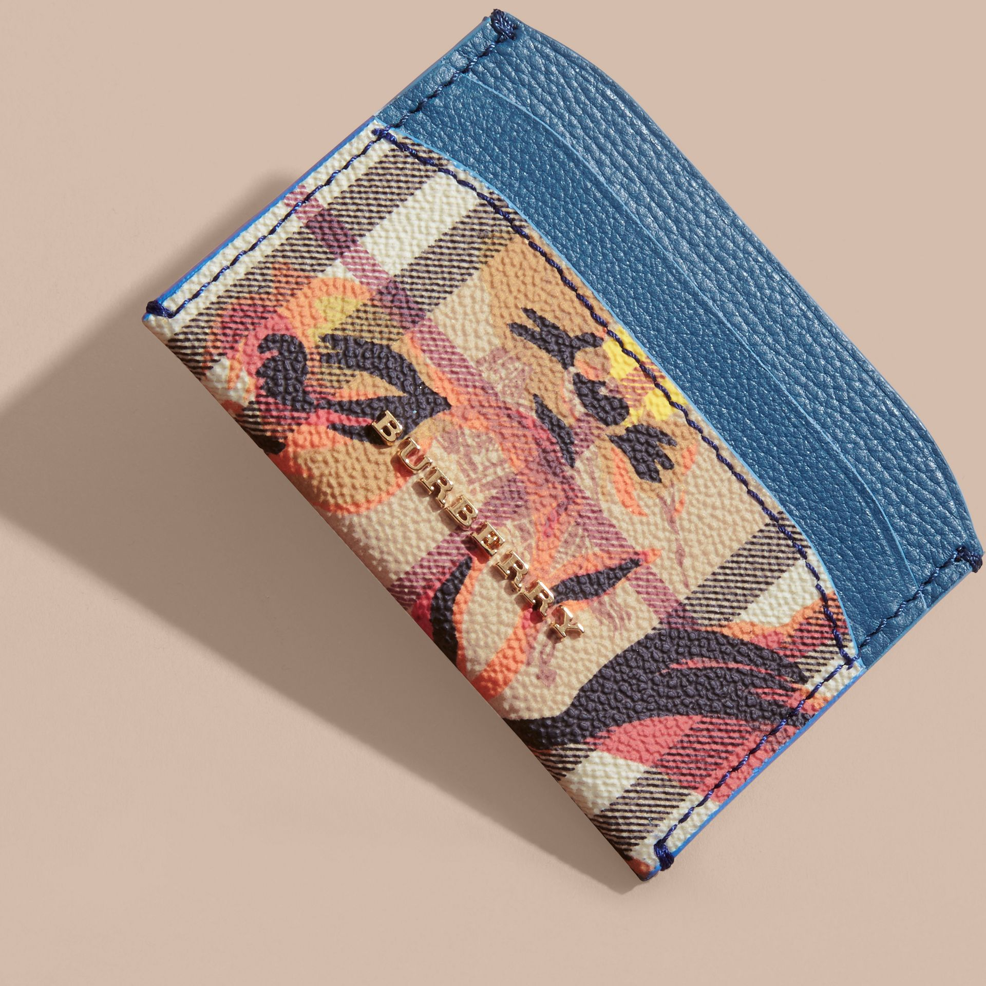 Peony Rose Print Haymarket Check and Leather Card Case in Mineral Blue/vibrant Orange - gallery image 4