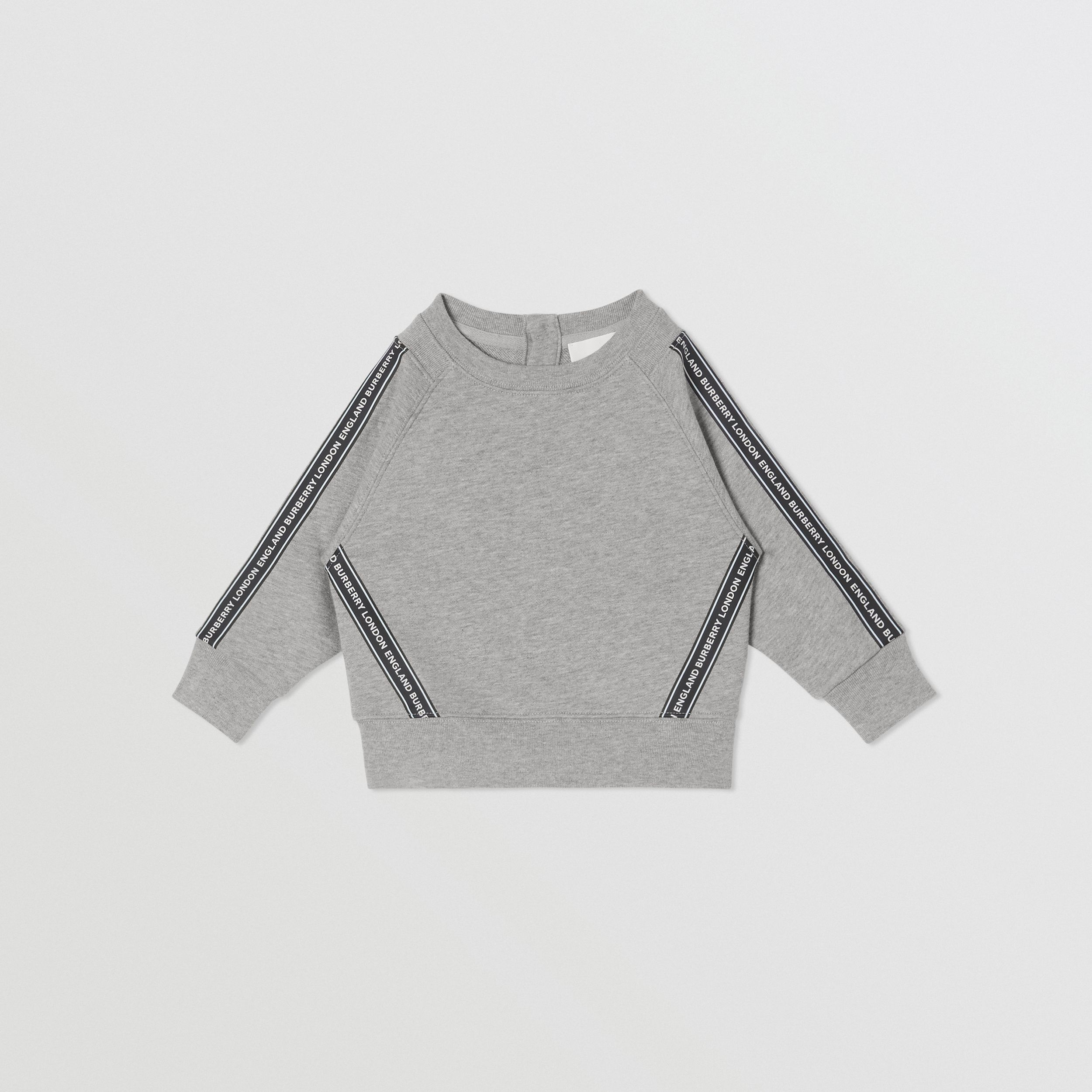 Logo Tape Cotton Sweatshirt in Grey Melange - Children | Burberry - 1