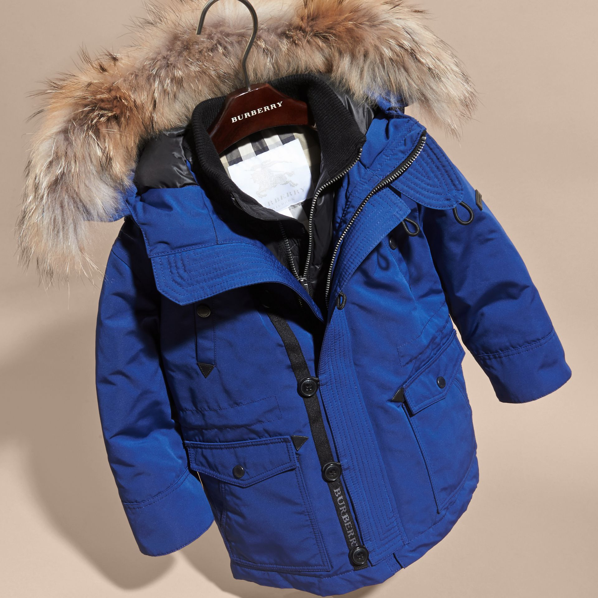 Bright cobalt Fur-Trimmed Down-Filled Hooded Puffer Coat Bright Cobalt - gallery image 3
