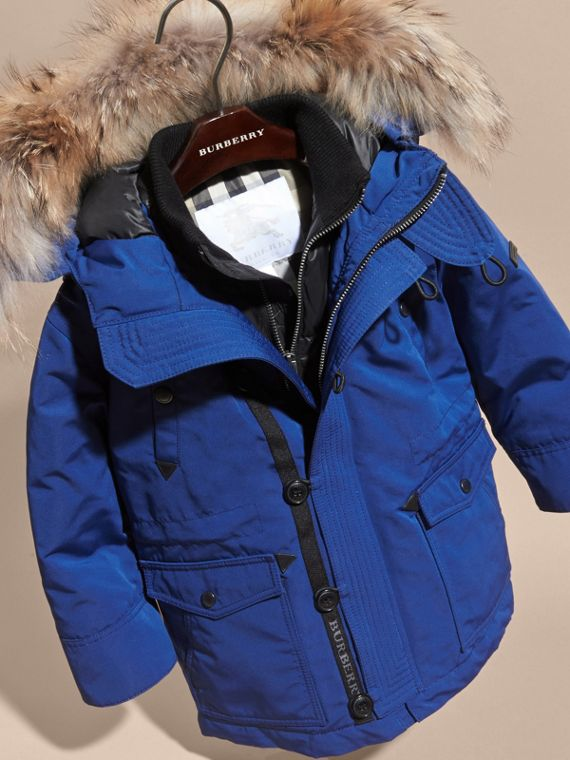 Bright cobalt Fur-Trimmed Down-Filled Hooded Puffer Coat Bright Cobalt - cell image 2