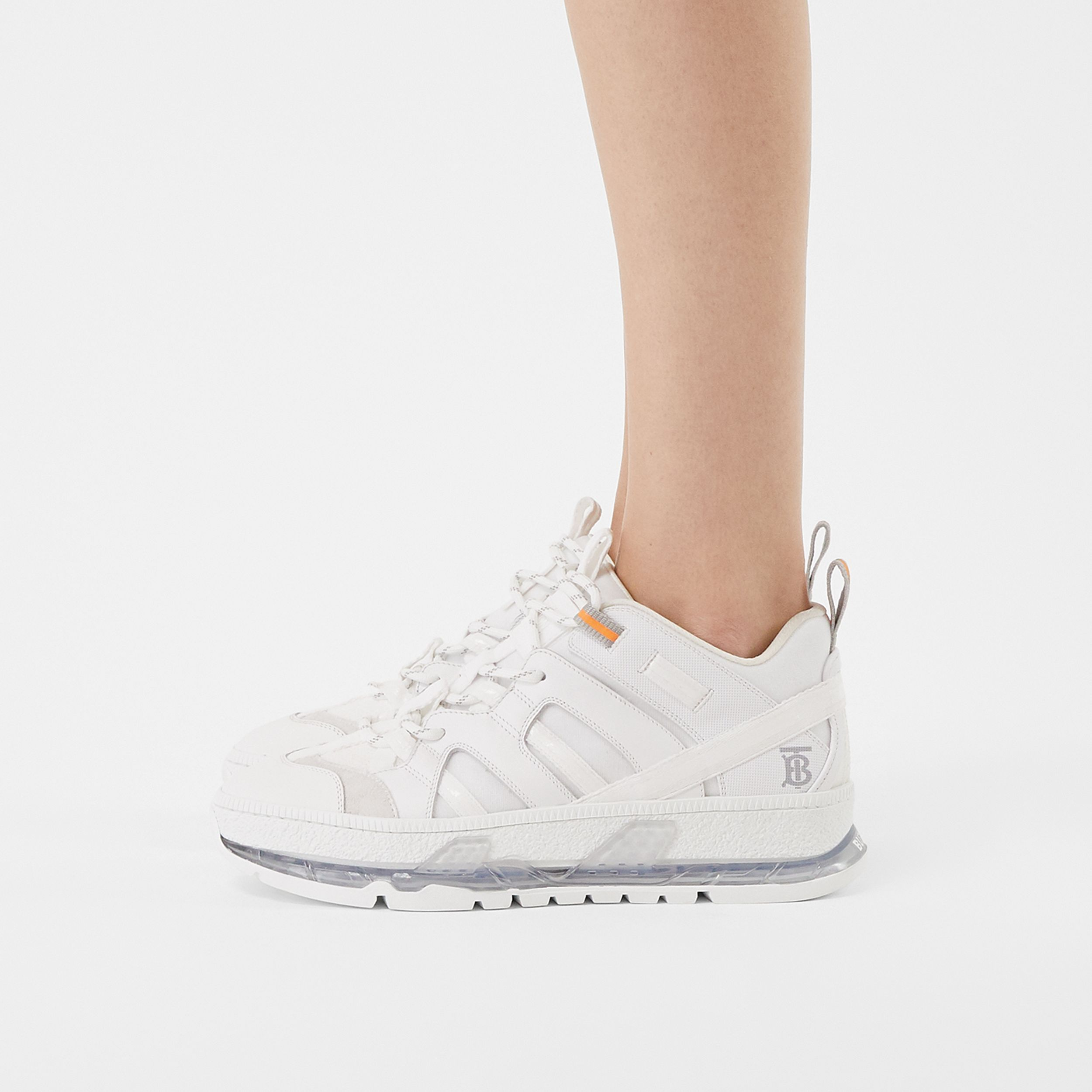 Nylon and Leather Union Sneakers in Optic White - Women | Burberry - 3