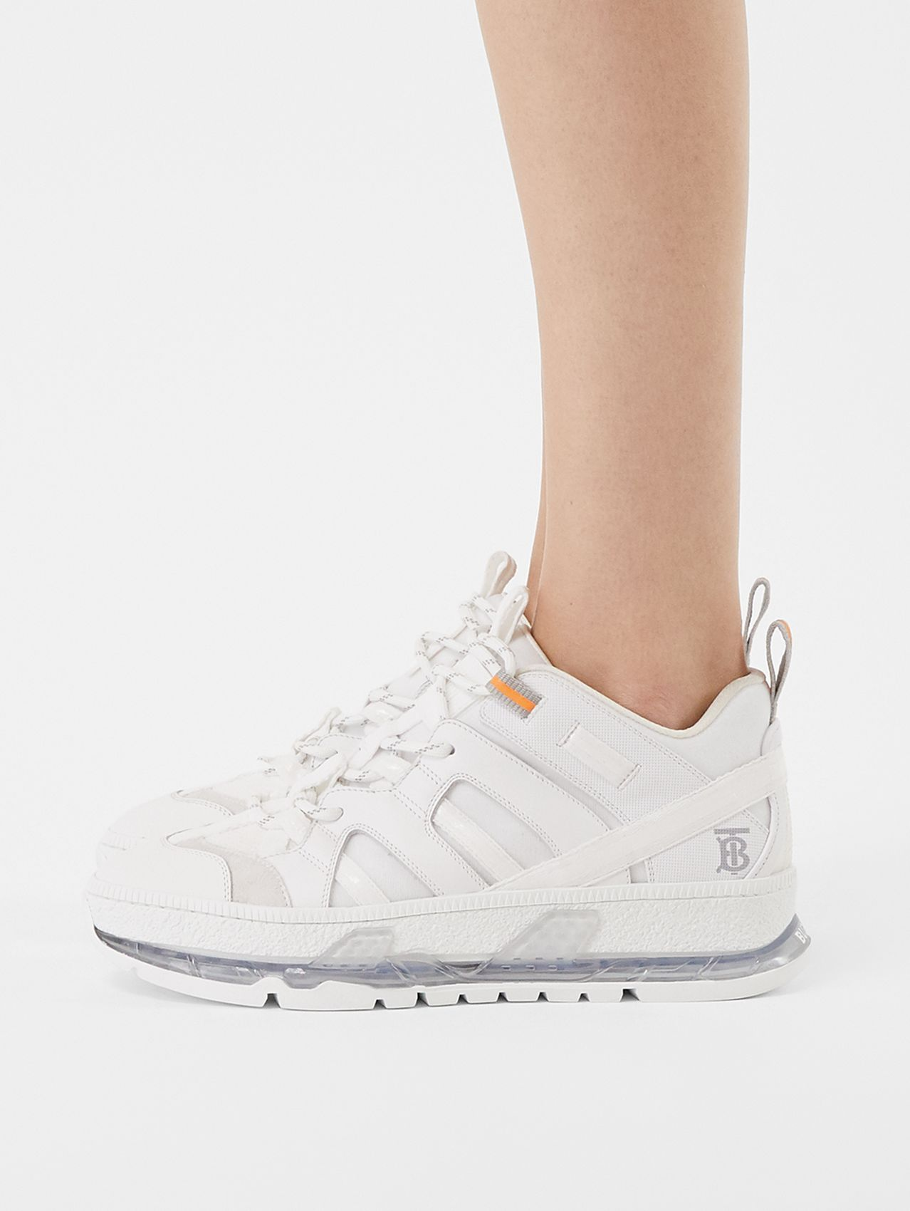 Nylon and Leather Union Sneakers in Optic White