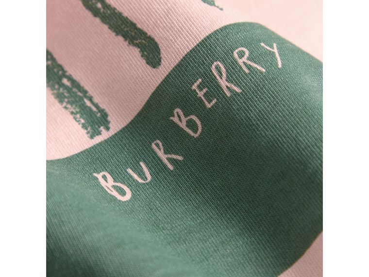 London Icons Print Cotton Long-sleeved Top in Chalk Pink - Girl | Burberry - cell image 1