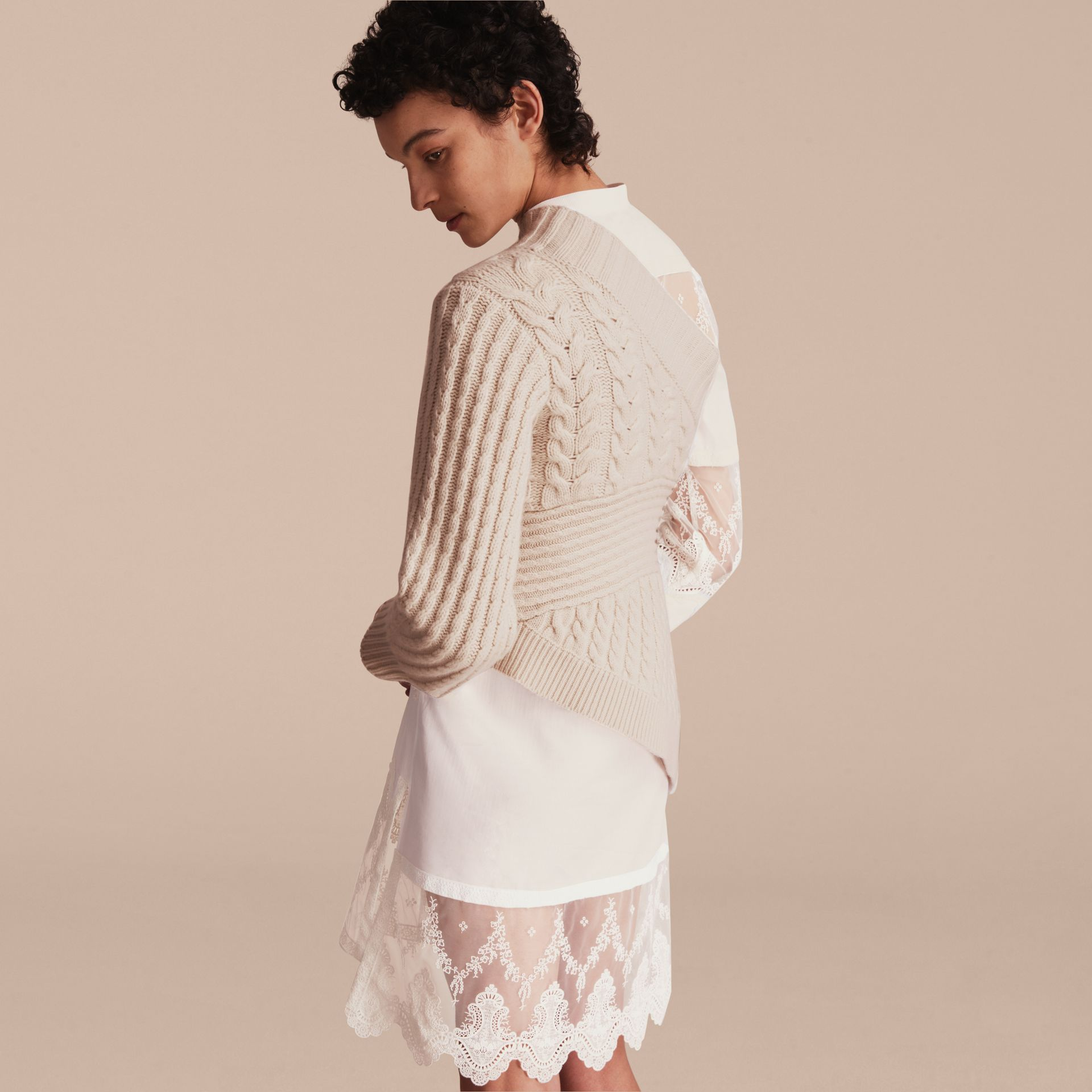 One-shoulder Cable Knit Cashmere Sweater in Natural White - Women | Burberry - gallery image 3