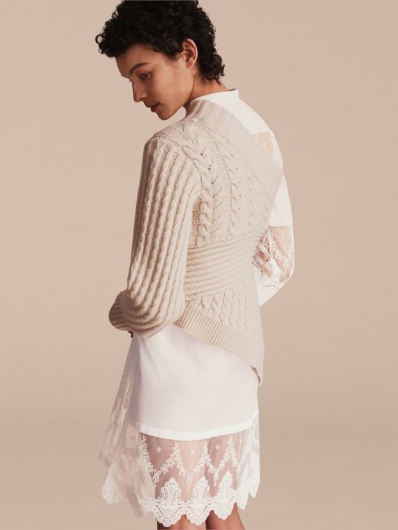 One-shoulder Cable Knit Cashmere Sweater in Natural White - Women | Burberry - cell image 2