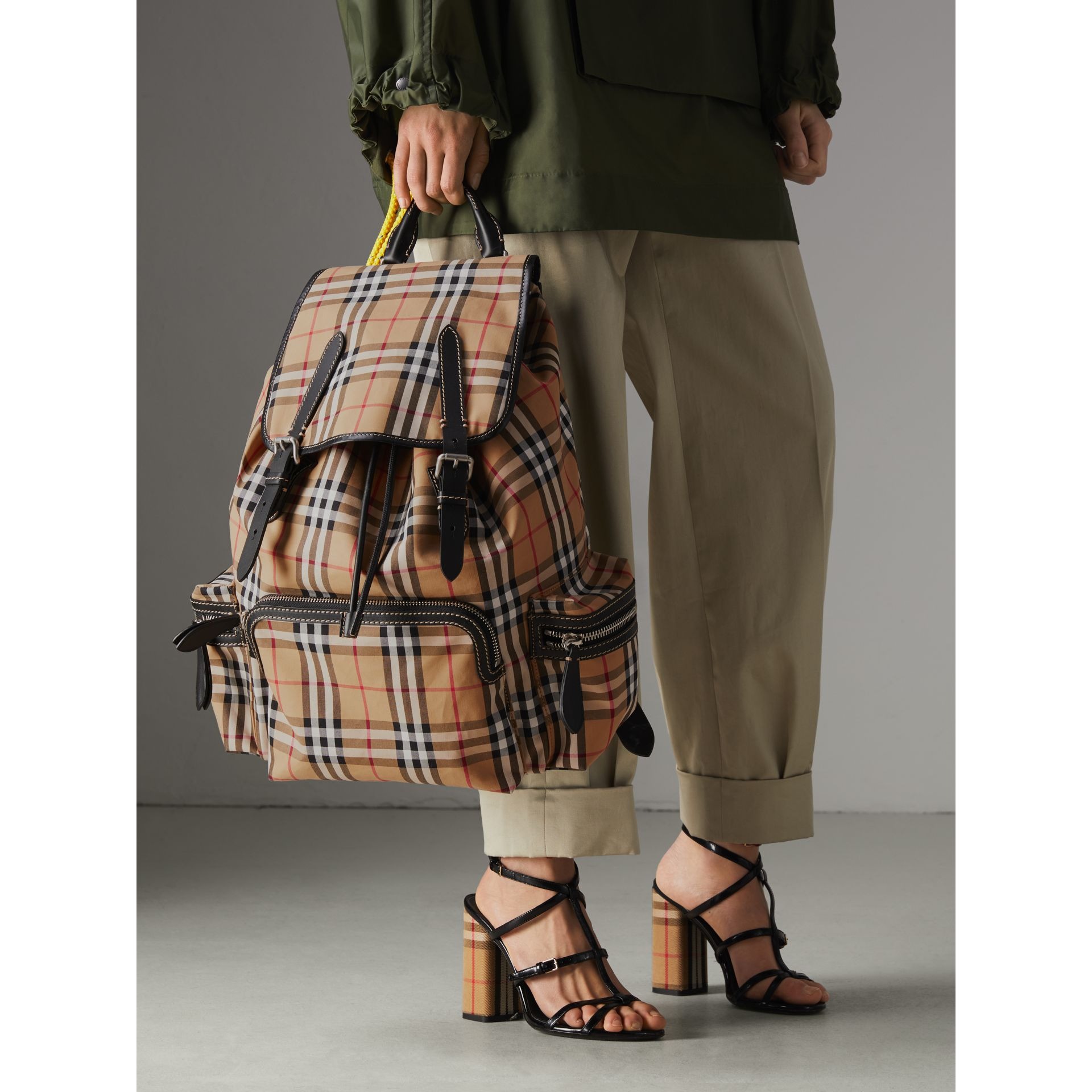The Large Rucksack in Vintage Check in Antique Yellow | Burberry - gallery image 5