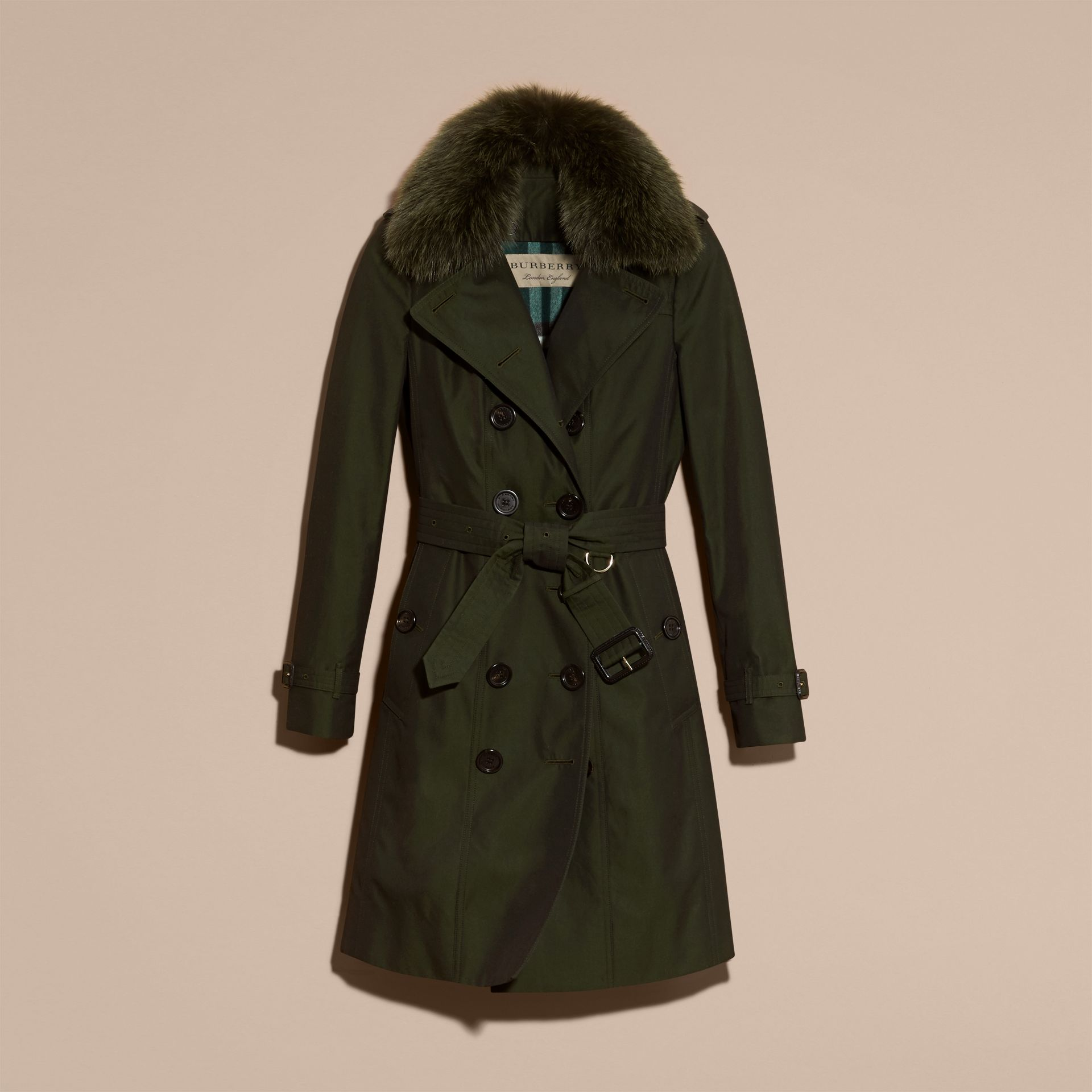 Dark cedar green Cotton Gabardine Trench Coat with Detachable Fur Trim Dark Cedar Green - gallery image 4