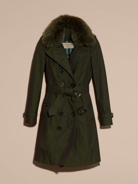 Dark cedar green Cotton Gabardine Trench Coat with Detachable Fur Trim Dark Cedar Green - cell image 3