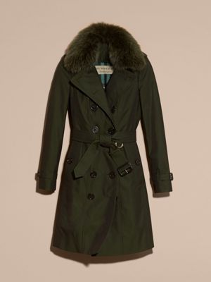 DARK CEDAR GREEN Cotton Gabardine Trench Coat with Detachable Fur Trim 产品图片31