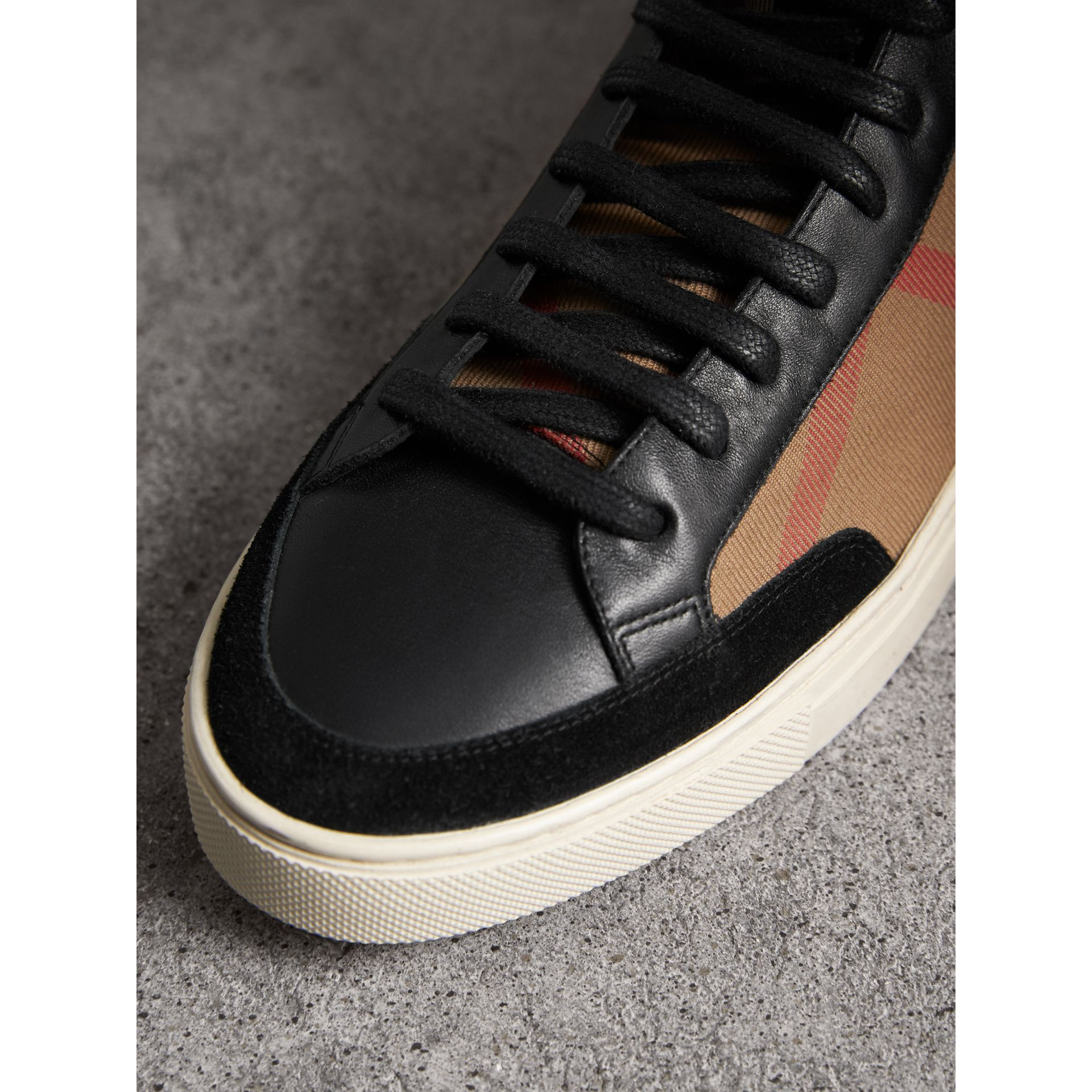 House Check and Leather High-top Trainers in Black - Men | Burberry - gallery image 1