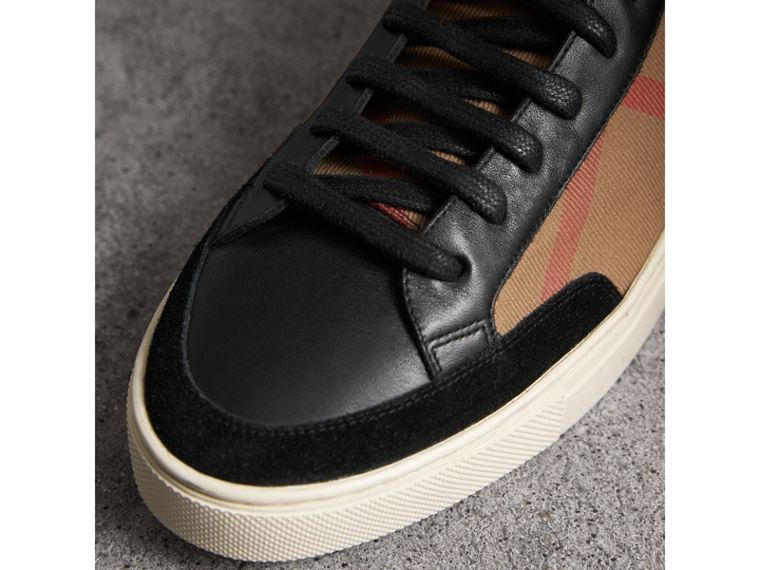 House Check and Leather High-top Trainers in Black - Men | Burberry - cell image 1