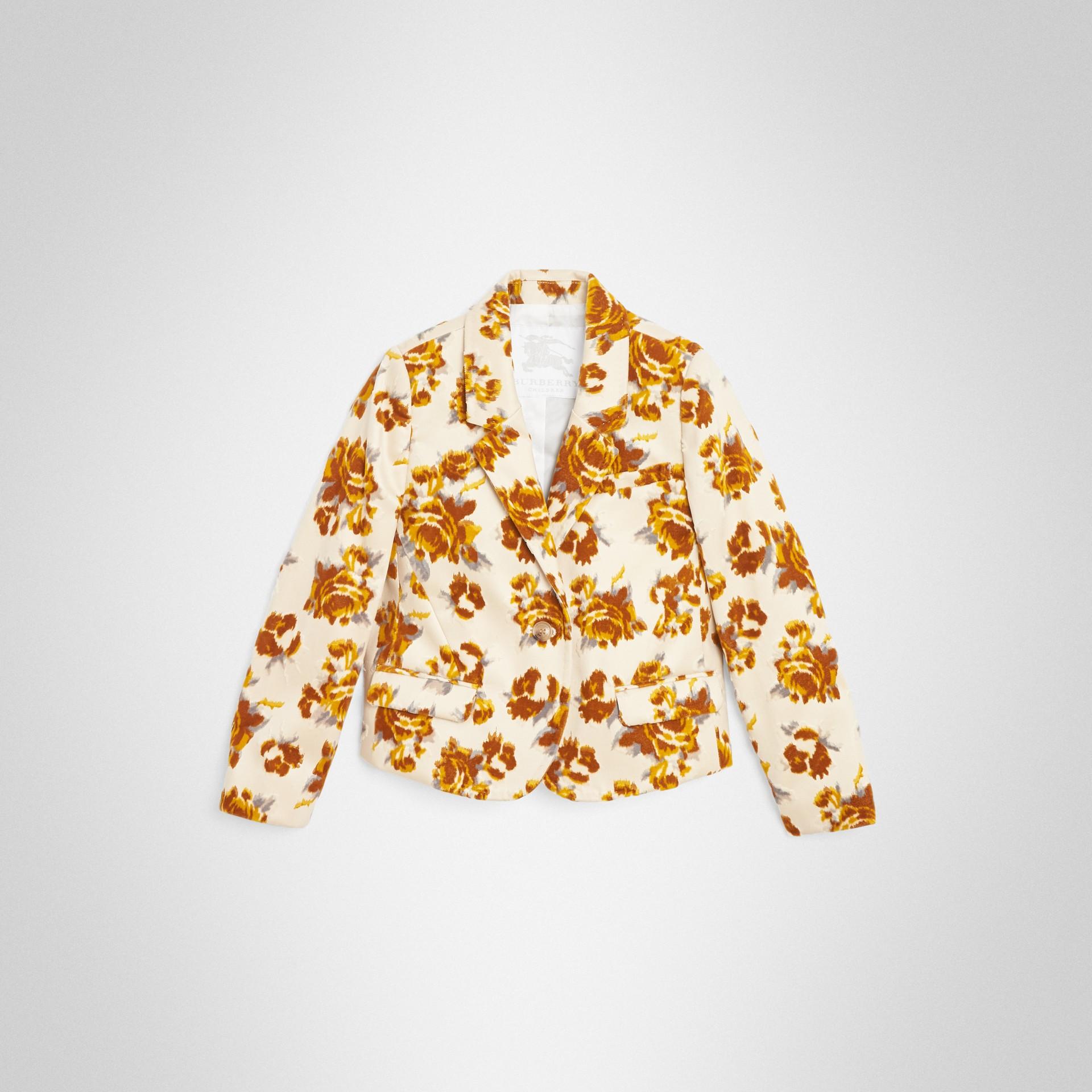 Blazer de veludo em jacquard floral (Estampa Mostarda) | Burberry - galeria de imagens 0