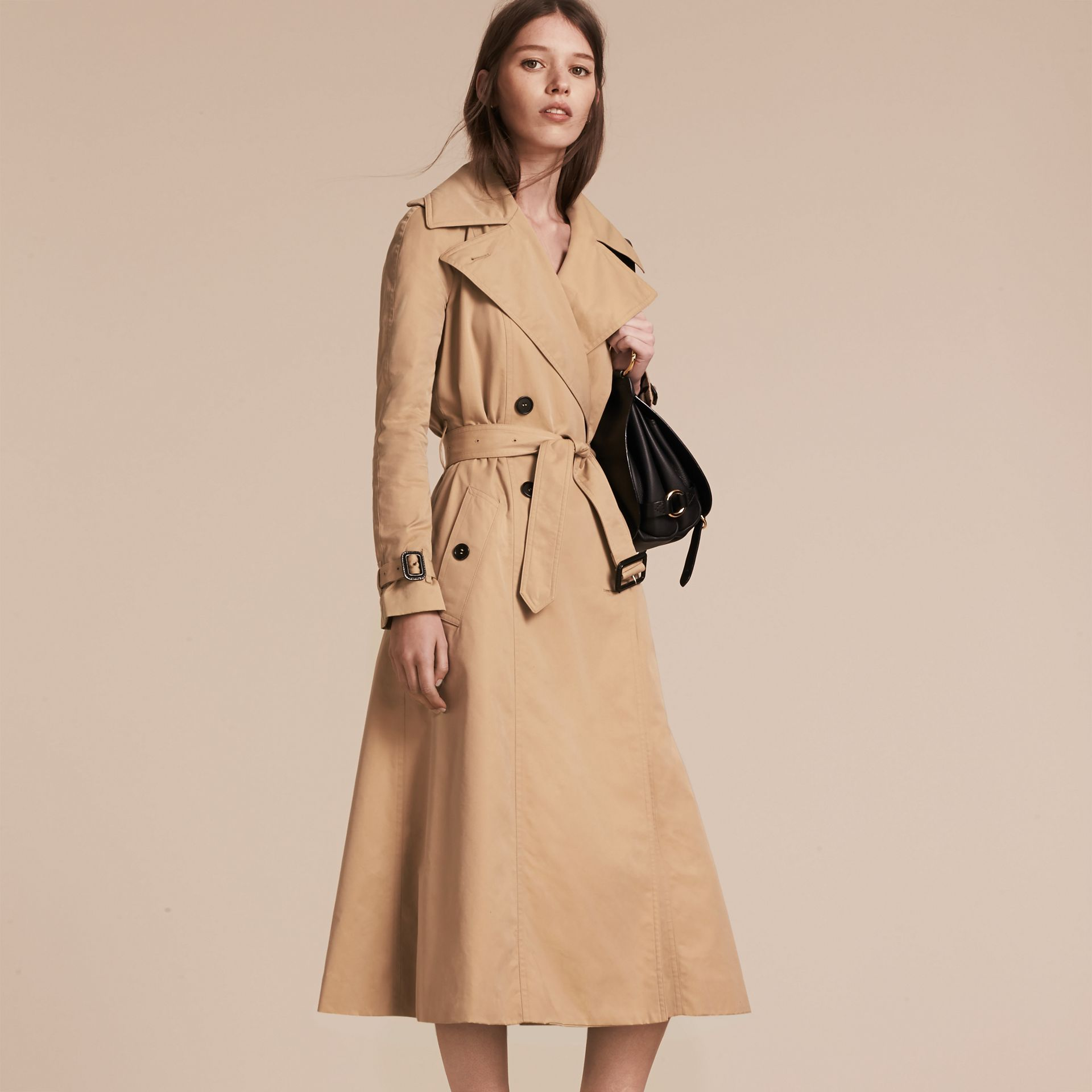 Honey Cotton Gabardine A-line Trench Coat - gallery image 6
