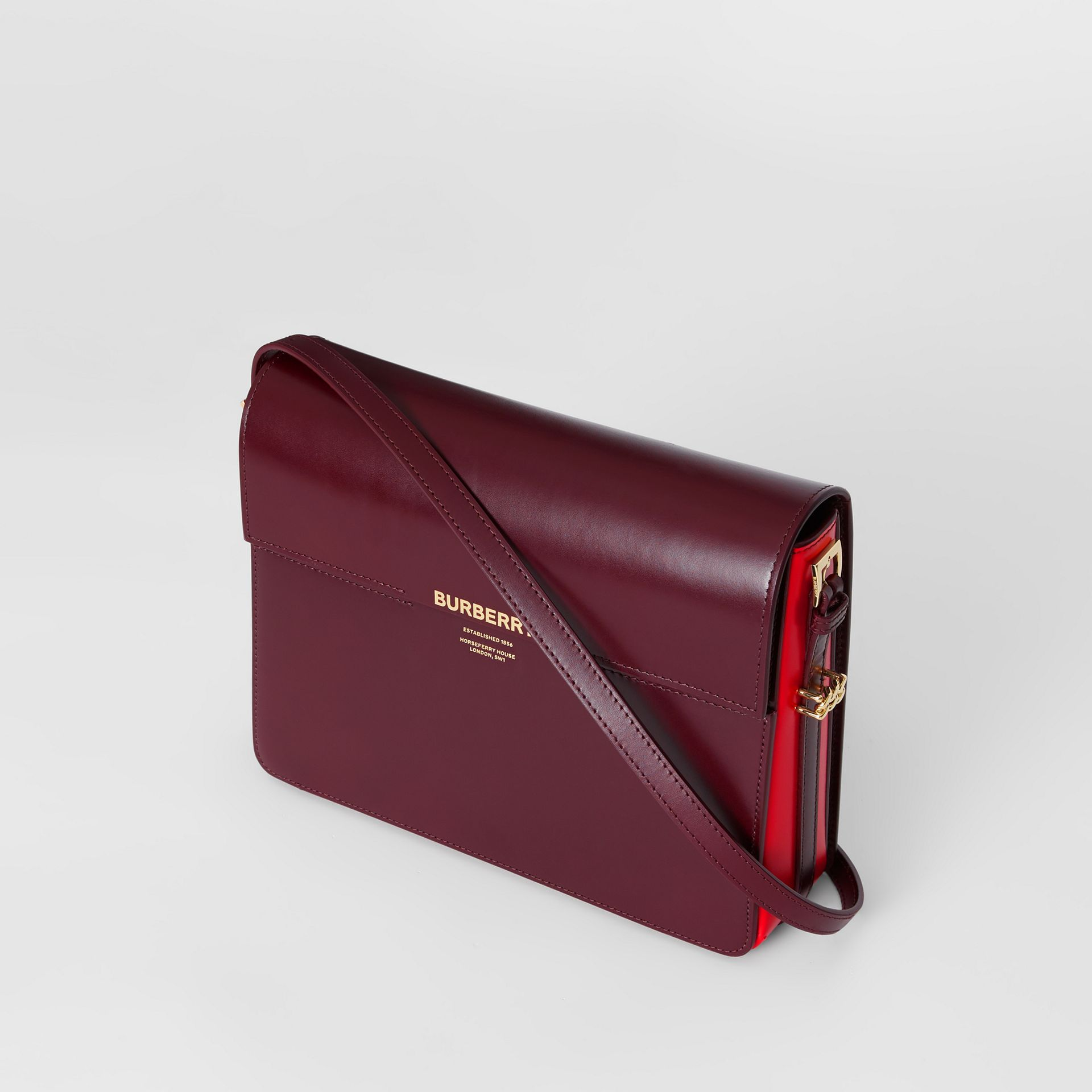 Large Two-tone Leather Grace Bag in Oxblood/bright Military Red - Women | Burberry United Kingdom - gallery image 3