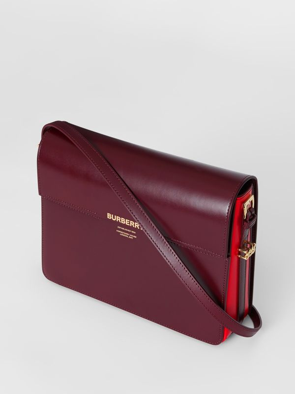 Large Two-tone Leather Grace Bag in Oxblood/bright Military Red - Women | Burberry - cell image 3