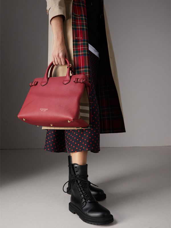 The Banner media in pelle con motivo House check (Rosso Bruno) - Donna | Burberry - cell image 2