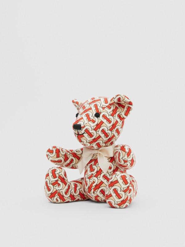 Monogram Print Merino Wool Thomas Bear in Vermilion Red - Children | Burberry United Kingdom - cell image 2
