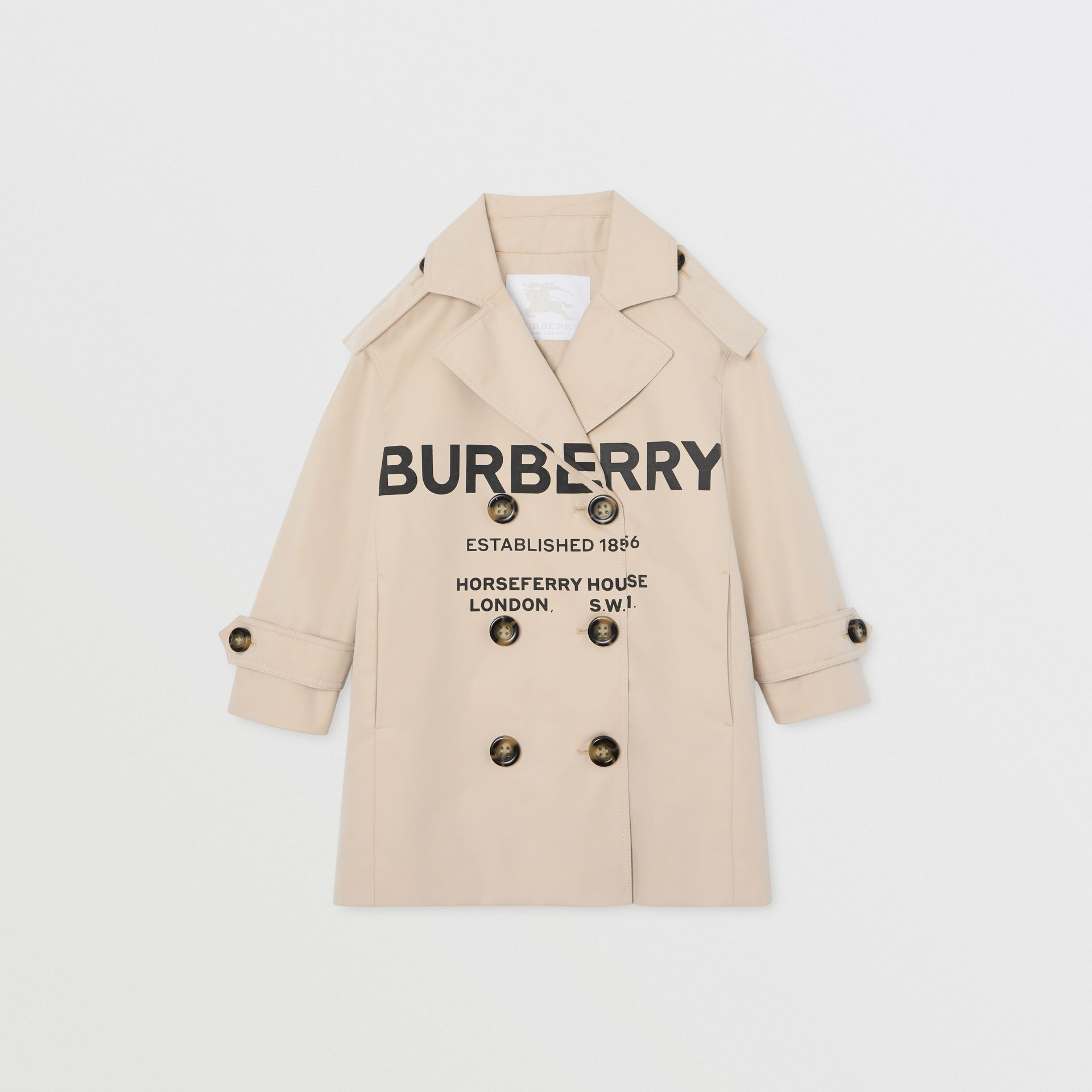 Horseferry Print Cotton Gabardine Trench Coat in Stone | Burberry - gallery image 0