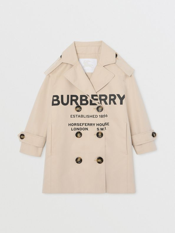 Horseferry Print Cotton Gabardine Trench Coat in Stone